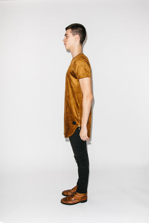 Long Cut Zipper T-Shirt Amber