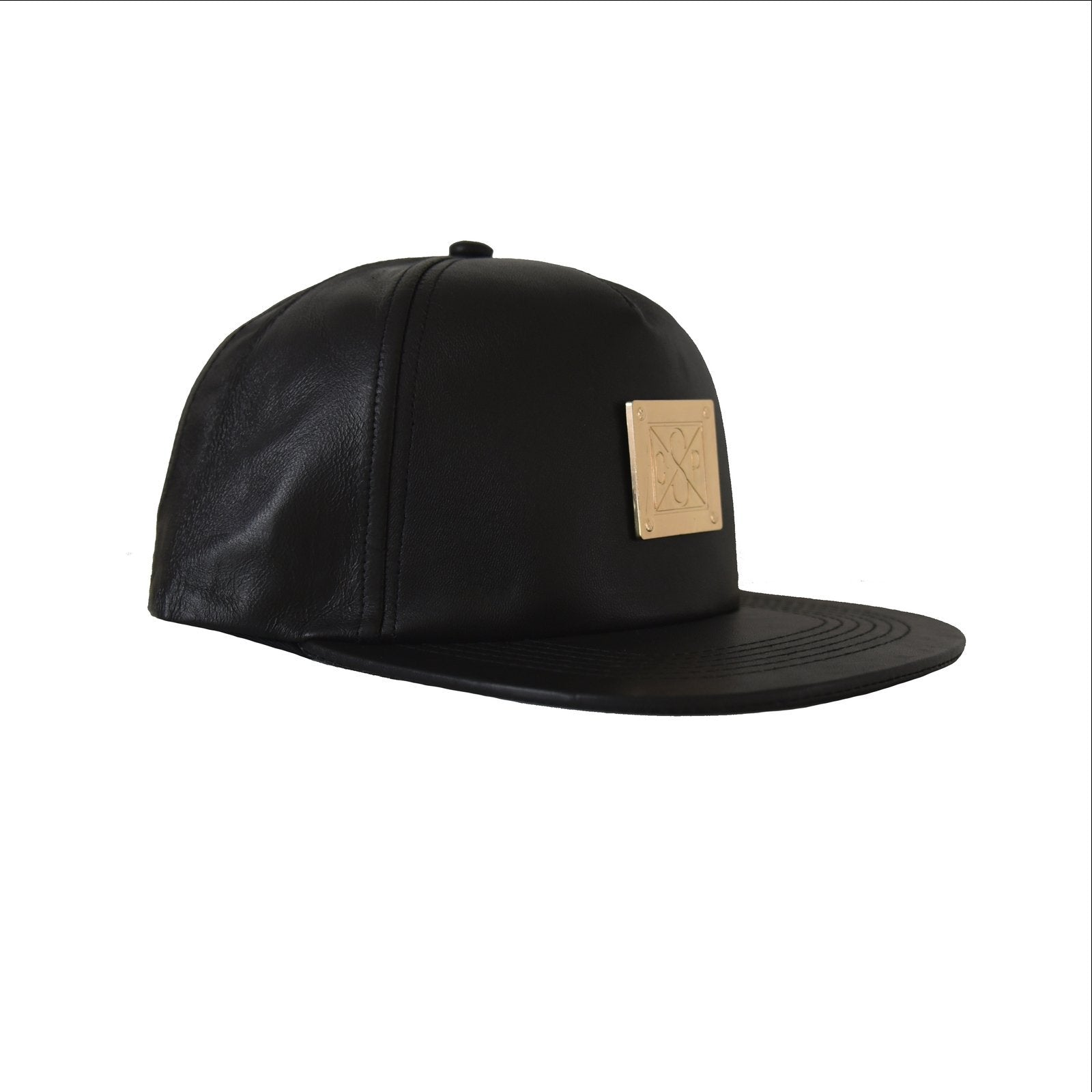 Snapback black leather