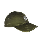 Destroyed baseball cap olive green