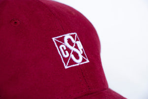 Baseball cap bloody red suede