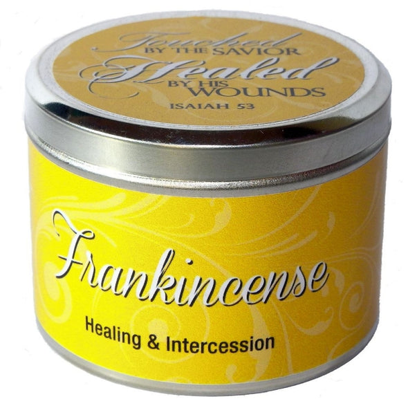 "Frankincense Fragrant Candle Tin (6 oz) - ""Healed by His wounds"""