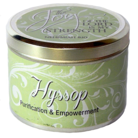 "Hyssop Fragrant Candle Tin (6 oz) - ""The Joy of the Lord is my Strength"""