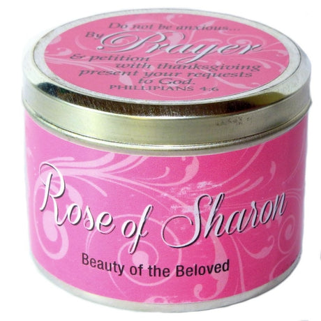 "Rose of Sharon Fragrant Candle Tin (6 oz) - ""Do not be anxious"""