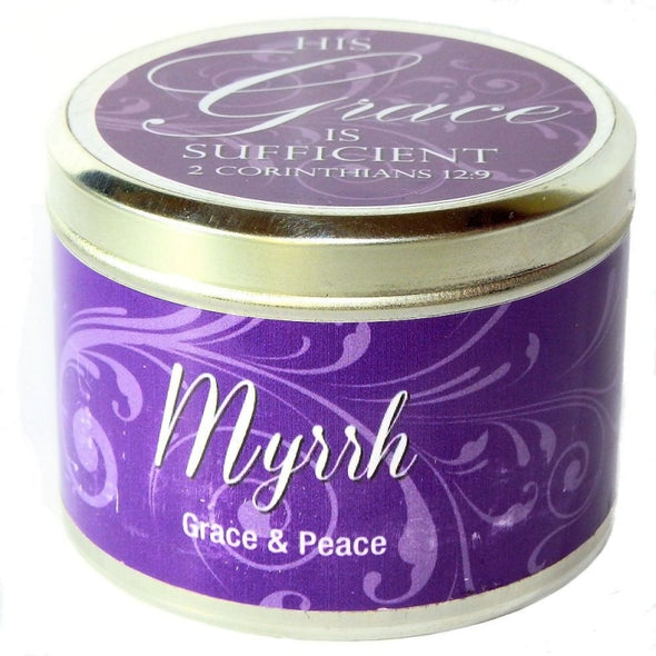 "Myrrh Fragrant Candle Tin (6 oz) - ""HIS grace is sufficient"""