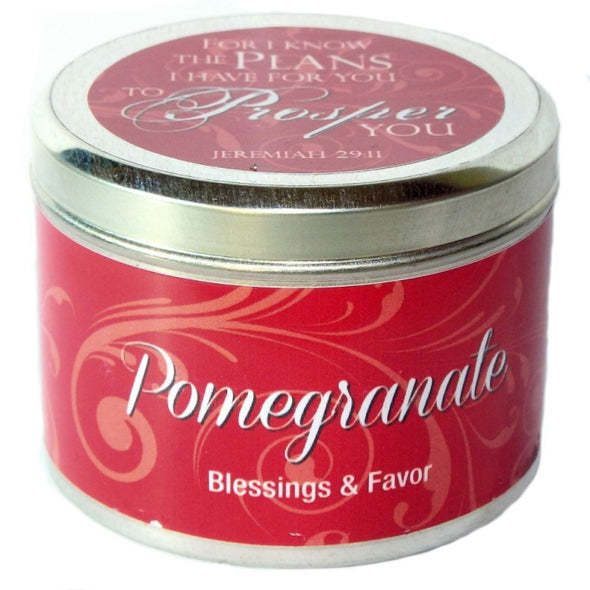 "Pomegranate Fragrant Candle Tin (6 oz) - ""For I know the plans that I have for you"""