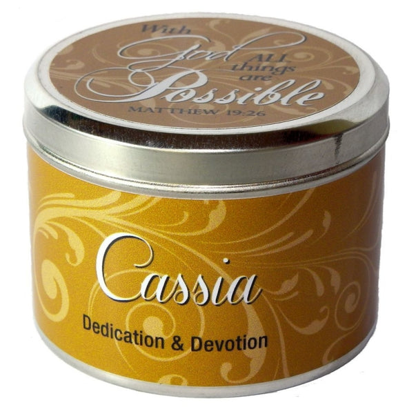 "Cassia Fragrant Candle Tin (6 oz) - ""With God ALL things are possible"""