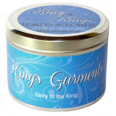 "King's Garments Fragrant Candle Tin (6 oz) - ""King of Kings, Lord of Lords"""