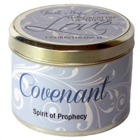 "Covenant Fragrant Candle Tin (6 oz) - ""Faith, Hope, Love..."""