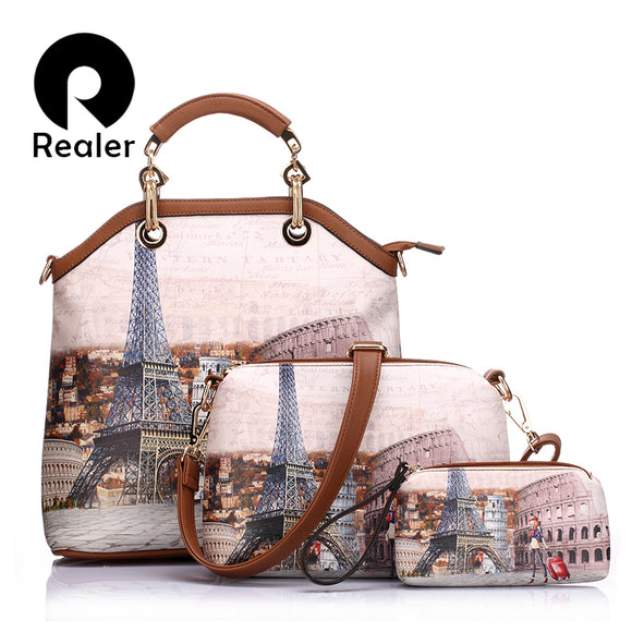 REALER women handbag 3 sets vintage printed