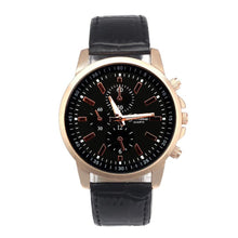 Luxury Black Leather Quartz Watch Geneva