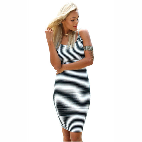 Backless striped slip dress