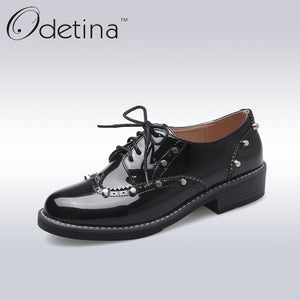 Odetina Classic Leather Oxford Shoes