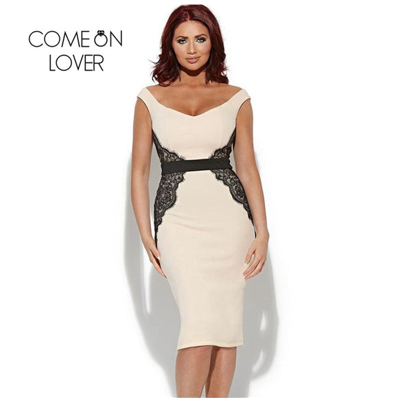 Comeonlover Low Neck Sleeveless Dress With