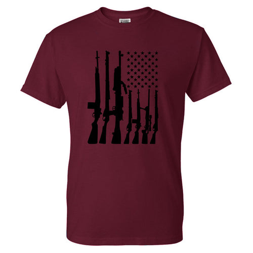 Collectors Item: Big American Flag With Machine Guns T-shirts