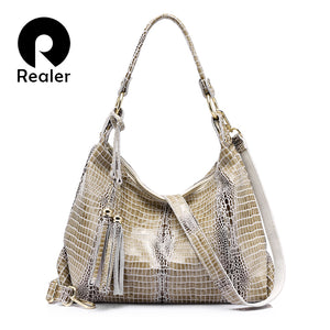 REALER genuine leather large shoulder Women Bag