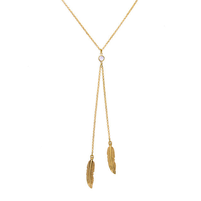 KISS ME Gold Color Feather Pendant Necklace