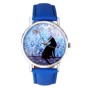Cute Cat and Butterfly Women-watch