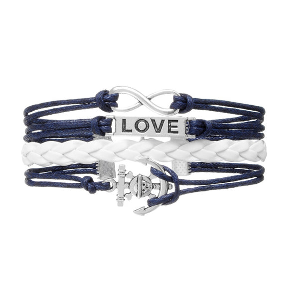 Love Anchor & Rudder Leather Bracelet