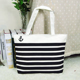 Black Stripes Beach Bags