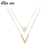 KISS ME Alloy Triangle Pendant Necklace