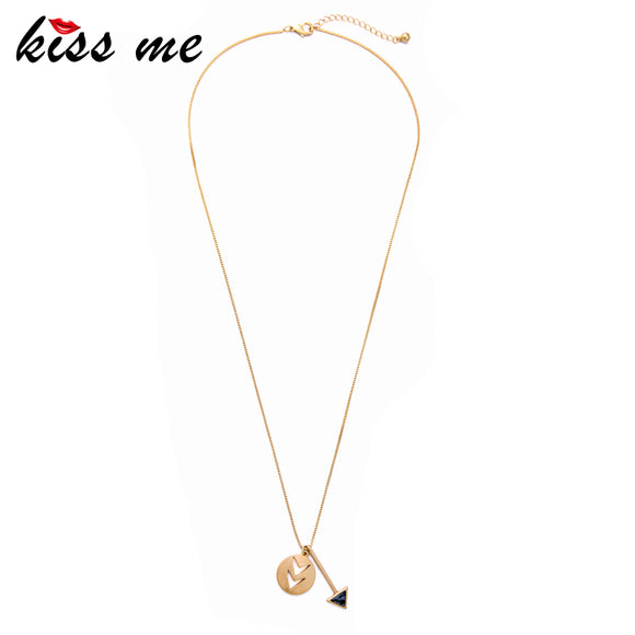 KISS ME Geometric Long Pendant Necklace