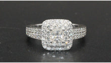 Luxurious  Double Halo 0.5CT Princess Cut Moissanite Diamond Pave Ring 14K White Gold Wedding Engagement Rings Band For Women