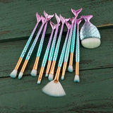 Mermaid Makeup Brushes 10pcs