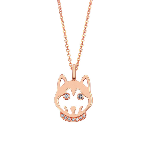 Diamonds Dogs Head Necklace - 18K Rose Gold