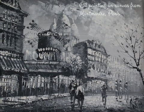 Black and white oil painting on canvas, Montmartre, Paris