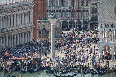 Busy St Mark's square in the afternoon
