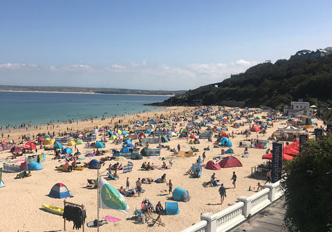 Busy beaches in August