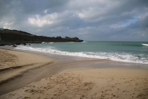 Brooding skies across the coastline in Cornwall