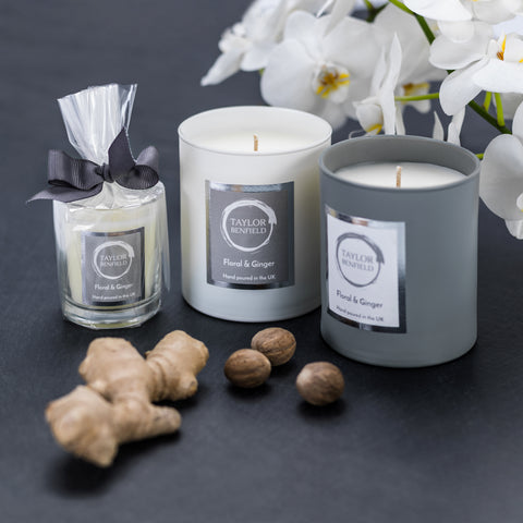 Taylor Benfield's luxury scented Floral & Ginger candle collection