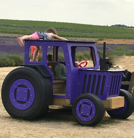 The purple tractor at Hitchin Lavender, in the Taylor Benfield blog.