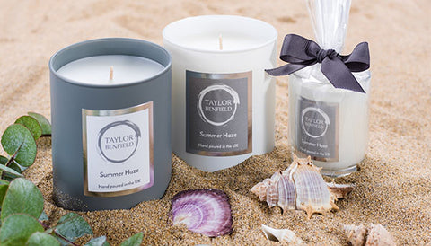 Summer Haze luxury scented candles by Taylor Benfield - Self Care blog