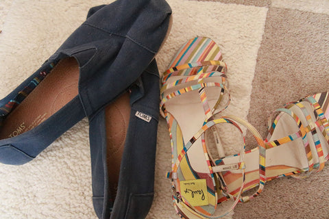 Sandals and Toms for a night out on your hols