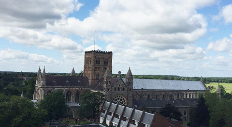 St Albans Abbey from the clock tower - view from above