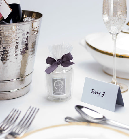 Taylor Benfield travel candles as wedding favours for guests