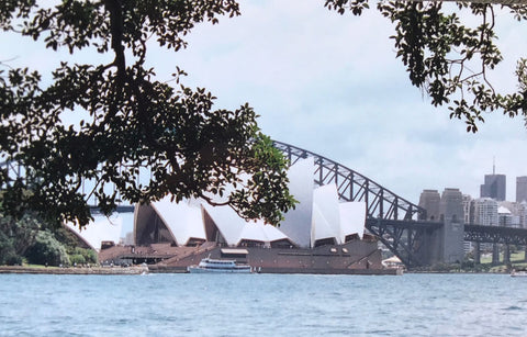 View over Sydney Opera House & Harbour Bridge from Botanical Gardens