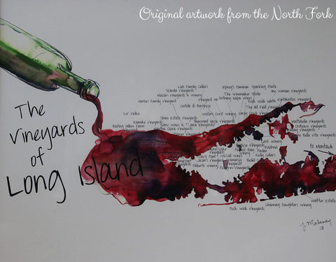Original artwork of vineyards of Long Island, USA