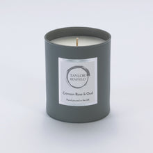 Taylor Benfield Crimson Rose & Oud luxury scented home candle beautifully packaged in grey matte glass.
