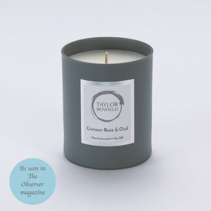 Taylor Benfield Luxury scented Crimson Rose & Oud candle in grey as seen in The Observer Magazine