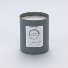 Taylor Benfield Citrus & Lemongrass luxury scented home candle beautifully packaged in grey matte glass.