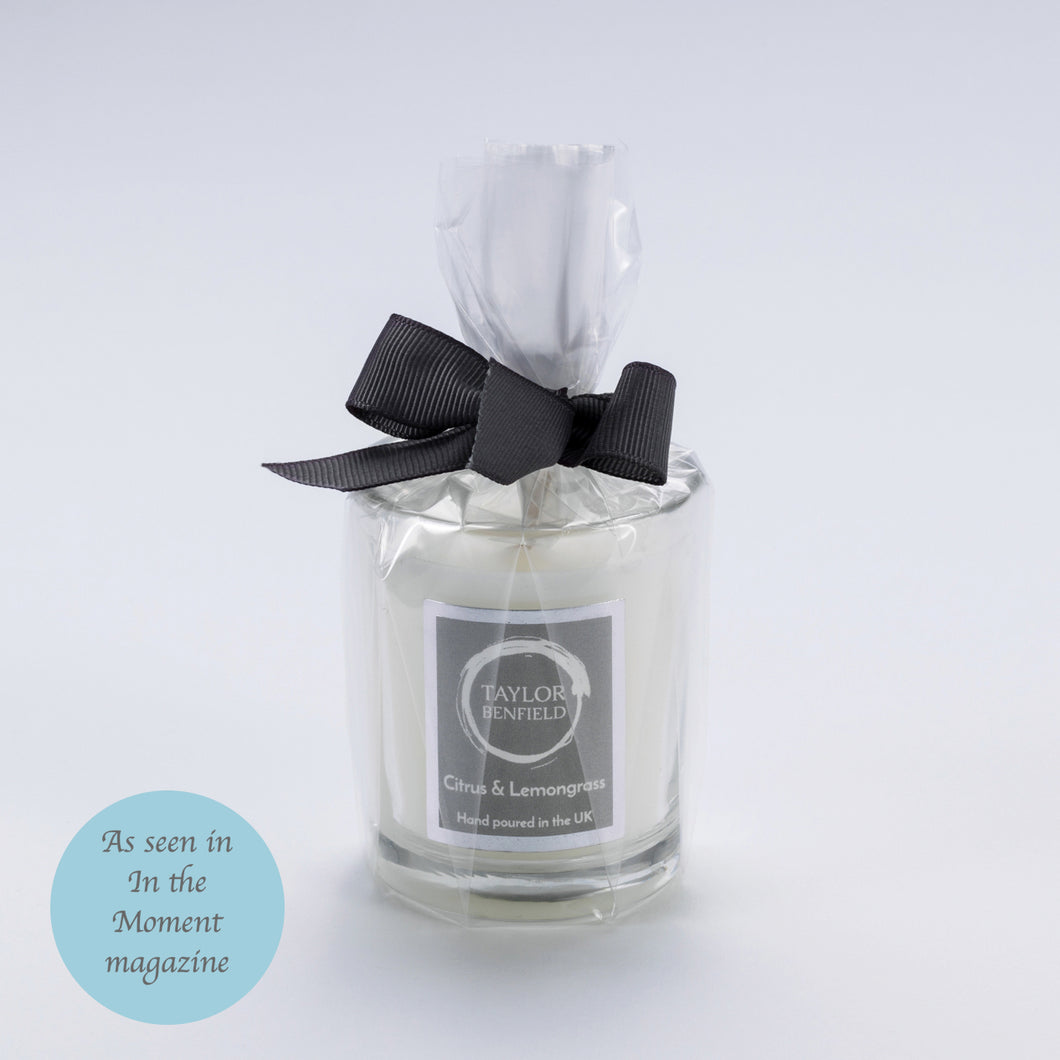 Taylor Benfield Luxury scented Citrus & Lemongrass travel candle as seen in In the Moment Magazine