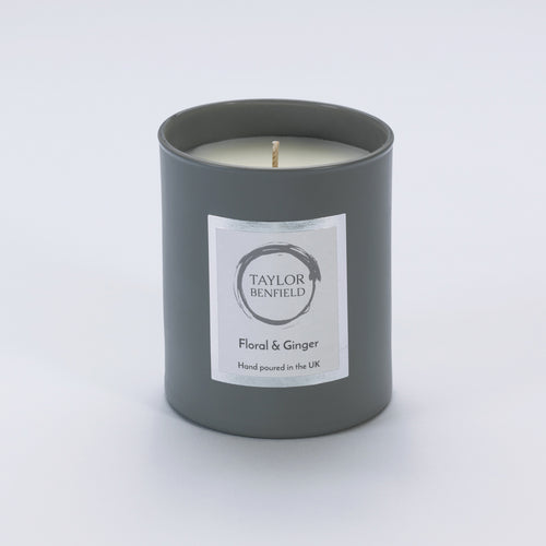 Taylor Benfield Floral & Ginger luxury scented home candle beautifully packaged in grey matte glass.