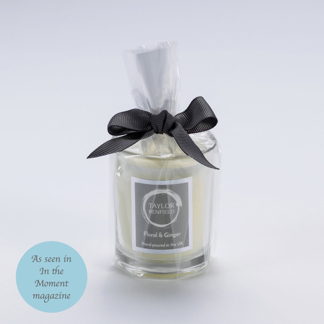 Taylor Benfield Luxury scented Floral & Ginger travel candle as seen in In the Moment Magazine