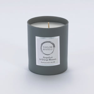 Taylor Benfield Grapefruit & Orange Blossom luxury scented home candle beautifully packaged in grey matte glass.