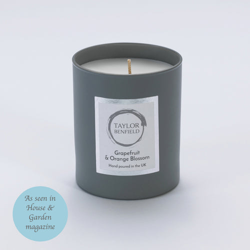 Taylor Benfield Luxury scented Grapefruit & Orange Blossom candle in grey as seen in House & Garden Magazine