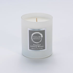 Taylor Benfield Grapefruit & Orange Blossom luxury scented home candle beautifully packaged in white matte glass.