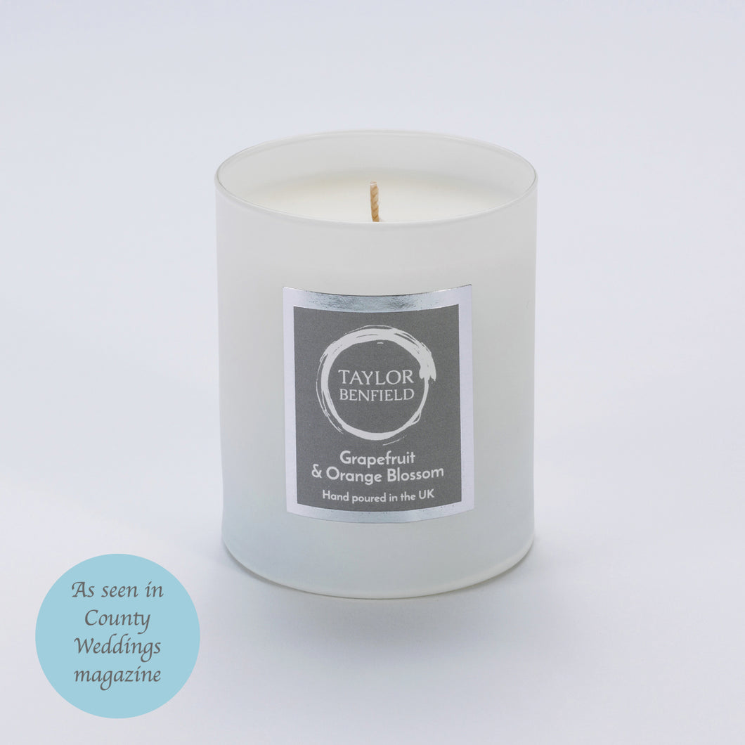 Taylor Benfield Luxury scented Grapefruit & Orange Blossom home candle in white as seen in County Weddings Magazine